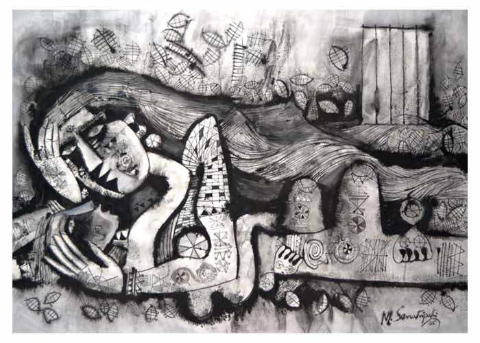 SE24  Mother and Child - I  Ink on Waterford paper  46 x 60 inches  Unavailable (Can be commissioned)