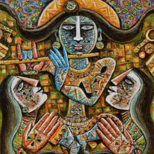 SE22  Krishna and Gopis - III  Acrylic on canvas  24 x 24 inches  Unavailable (Can be commissioned)