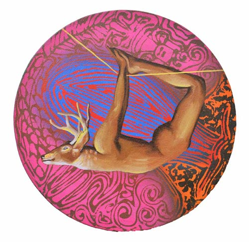 SH22  Secret Pillow Series - XV  Acrylic On Canvas  Diameter 12 inches  Available