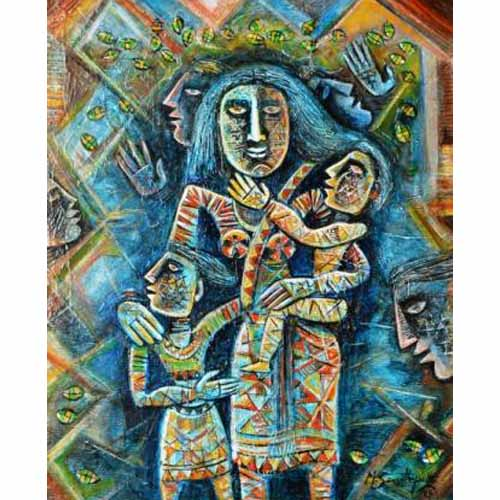 SE47  Mother and Children - II  Acrylic on canvas  30 x 24 inches  Unavailable (Can be commissioned)