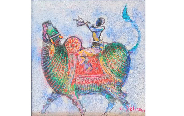 A.Selvaraj Bull - II Acrylic on Canvas 12 x 12 inches Unavailable (Can be commissioned)
