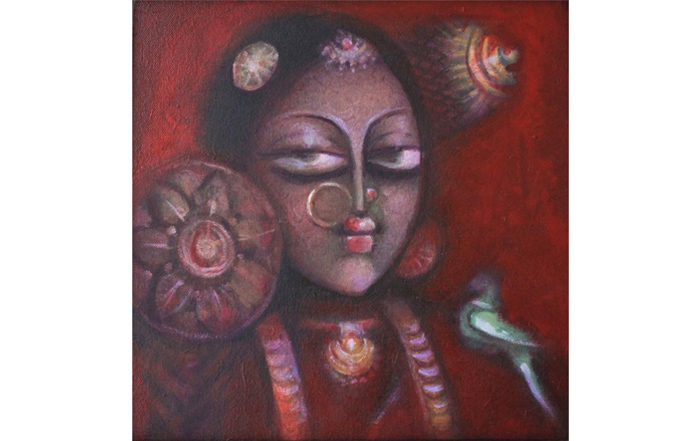 A.Selvaraj  Dancer  Acrylic on Canvas  12 x 12 inches  Unavailable (Can be commissioned)