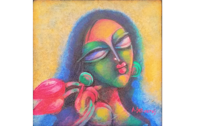 A.Selvaraj  Lotus Girl  Acrylic on Canvas  12 x 12 inches  Unavailable (Can be commissioned)