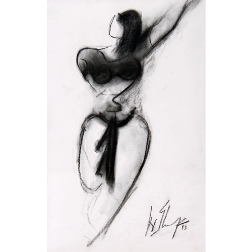 AV67  Dancer - I   Charcoal on paper  19 x 12 inches  Available