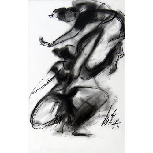 AV68  Dancers - I   Charcoal on paper  19 x 12 inches  Available