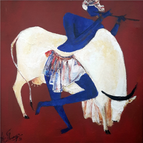 AV103  Krishna - VI  Acrylic on canvas  24 x 24 inches  Available