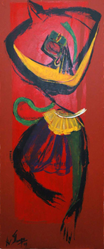 AV07  Jai Rama Sri Rama  Acrylic on canvas  70 x 29 inches  Unavailable (Can be commissioned)