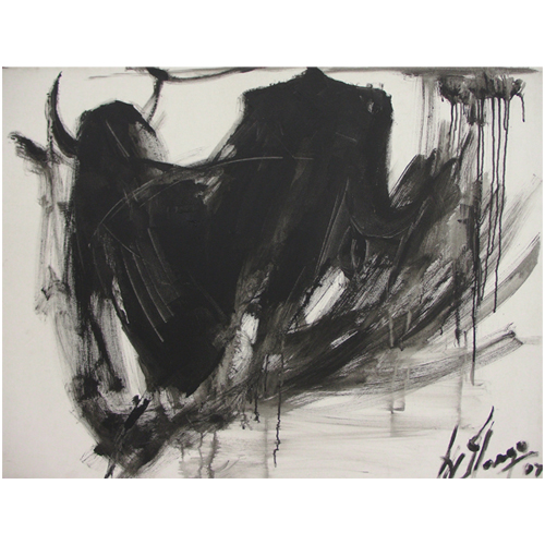 AV46  The Bull - II  Acrylic on canvas  36 x 48 inches  Unavailable (can be commissioned)