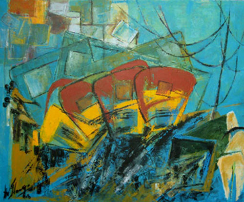 AV22  Chennai Series - I  Acrylic on canvas  29 x 36 inches  Unavailable (Can be commissioned)