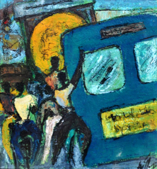 AV26  Slum Dwellers - I  Acrylic on paper  10 X 10 inches  Available