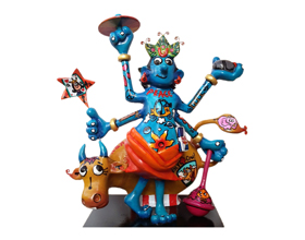 BB124<br> Krishna - IV<br> Painted Fibreglass<br> 17 x 10 x 19 inches<br> Available