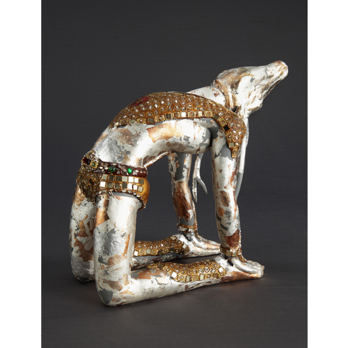 SH62   Silver Deer  Lac on fiberglass and mirror  14 x 9 x 12 inches  Unavailable (Can be commissioned)