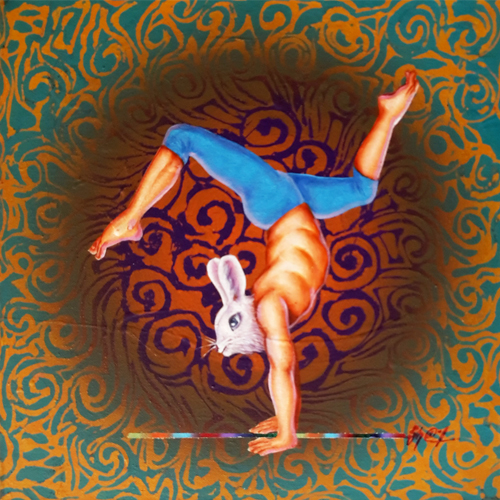 SH51  Yogic Imitation - IX  Acrylic on canvas  15 x 15 Inches  Available