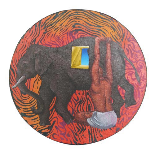 SH07  Elephant Yogi  Acrylic on canvas 	 12 x 12 inches  Unavailable (Can be commissioned)