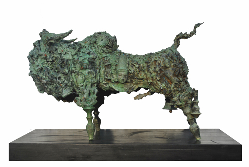 EL20  Bull - II / Interface  Bronze on Granite  33 x 15 x 22 inches  Unavailable (can be commissioned)