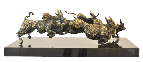 EL01  Bulls  Bronze on Granite  30 x 12 x 15 inches  Unavailable (can be commissioned)