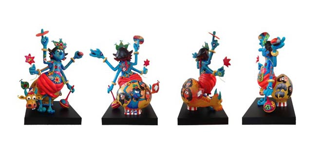 """BB42  Krishna - 360 degree view  Painted fiberglass  36"""" x 12"""" x 36""""  Unavailable (can be commissioned)"""