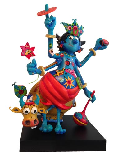 """BB42  Krishna Painted fibre glass  36"""" x 12"""" x 36""""  Unavailable (can be commissioned)"""