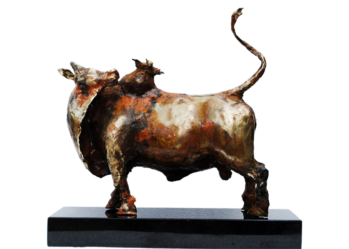 EL31  Bull with Birds – II  Bronze on Granite  18 x 7 x 17 inches  Unavailable (Can be commissioned)
