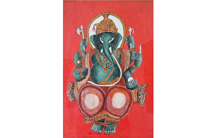 D.Venkatapathy  Ganapathi - II  Acrylic on paper  18 x 12 inches  Unavailable (Can be commissioned)