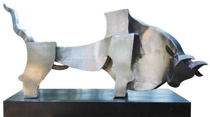 EL02  Bull - I  Stainless Steel on Wood   55 x 30 x 36 inches  Unavailable (can be commissioned)