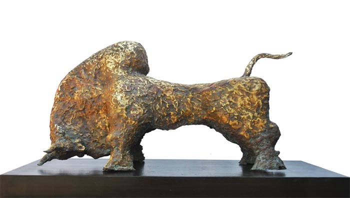 EL03  Bull - II  Bronze on Granite   38 x 18 x 19 inches  Unavailable (can be commissioned)