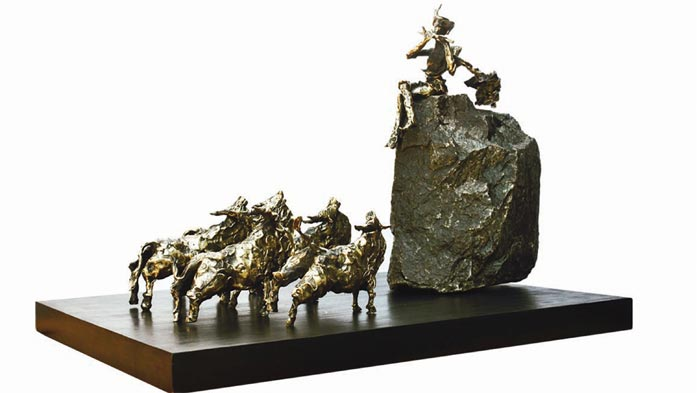 EL09   Krishna with Cows - I  Bronze, Granite on Wood  32 x 24 x 22.5 inches  Unavailable (can be commissioned)