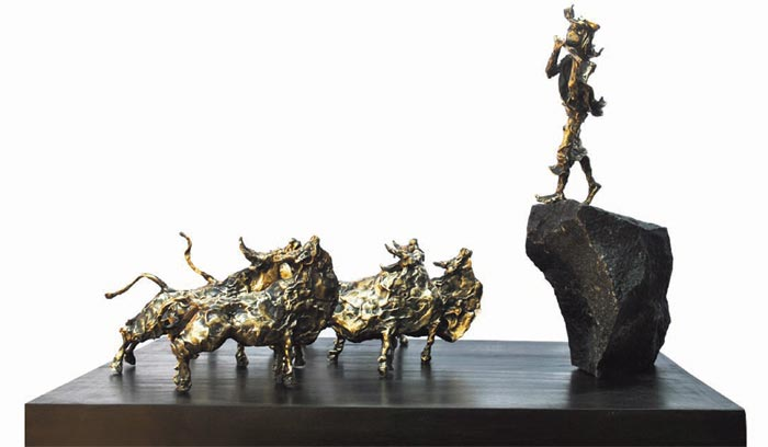 EL10  Krishna with Cows - II  Bronze, Granite on Wood   32 x 24 x 22.5 inches  Unavailable (can be commissioned)