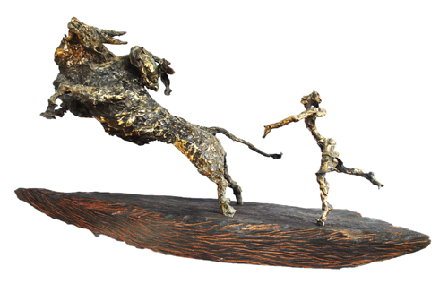 EL13 Jallikattu - I	 Bronze on Wood	 43 x 17 x 21 inches Unavailable (can be commissioned)