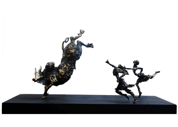 EL28  Jallikattu – IV  Bronze on Granite  42 x 12 x 22 inches  Unavailable (Can be commissioned)