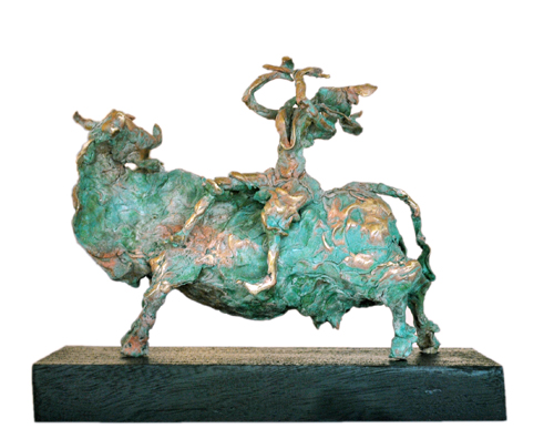 EL11   Krishna on Cow - I  Bronze on Wood   14 x 7.5 x 11 inches  Unavailable (can be commissioned)