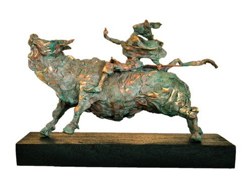 EL12  Krishna on Cow - II  Bronze on Wood  14 x 8 x 8.5 inches  Unavailable (can be commissioned)