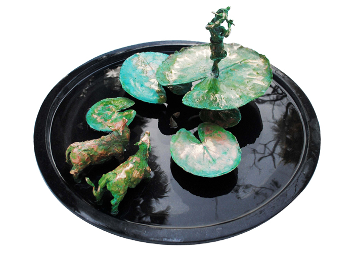 EL35  Krishna in a Lotus Pond – I  Bronze on Granite  26 x 27 x 12 inches  Unavailable (Can be commissioned)