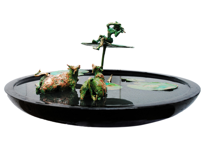 EL36   Krishna in a Lotus Pond – II  Bronze on Granite  26 x 27 x 13 inches  Available