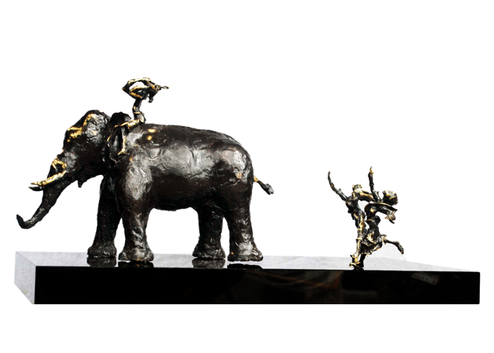 EL27 Krishna on Elephant Bronze on Granite 32 x 14 x 16 inches Unavailable (Can be commissioned)