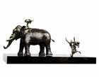 EL27 <br> Krishna on Elephant <br> Bronze on Granite <br> 32 x 14 x 16 inches <br> Available