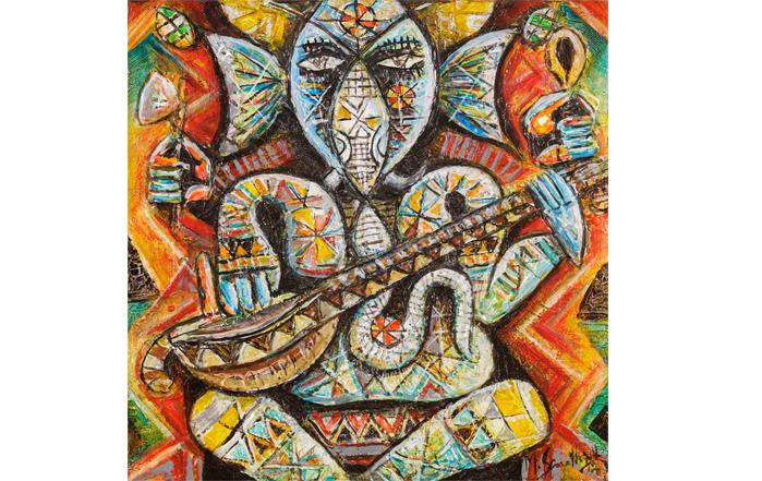 M.Senathipathi SE0063 Ganesha - II 12 x 12 inches Acrylic on Canvas Available