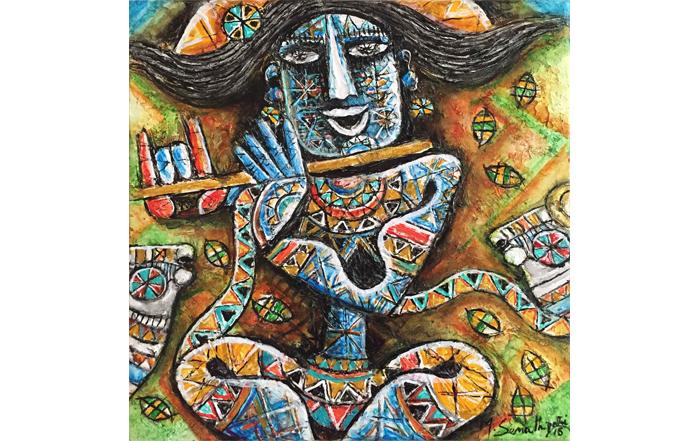 M.Senathipathi SE62 Krishna - V  Acrylic on canvas  12x 12 inches  Unavailable (Can be commissioned)