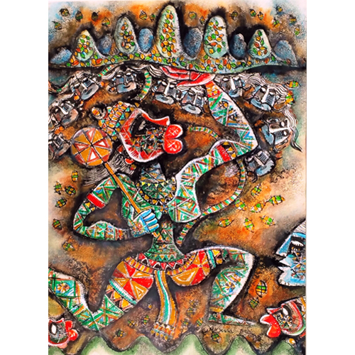 SE52   Hanuman - V  Acrylic on Handmade paper  30 x 22 inches  Available