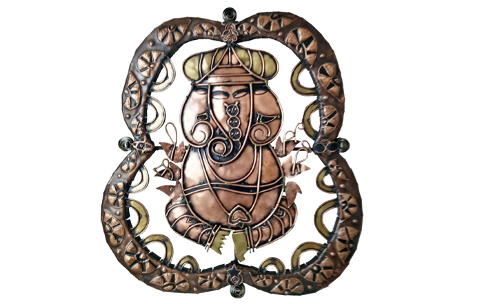 M.S.Geetha  Ganesha - III  Welded copper and brass  22.5 x 20.5 inches  Unavailable (Can be commissioned)