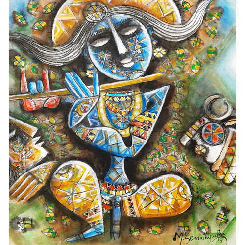 SE54   Krishna - IV  Acrylic on handmade paper  15 x 16 inches  Available
