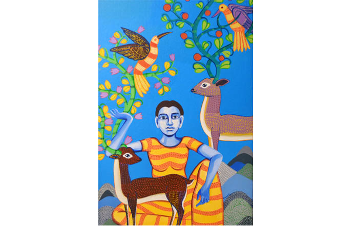 NB005 Sita Acrylic on Canvas 22 X 15 inches Available
