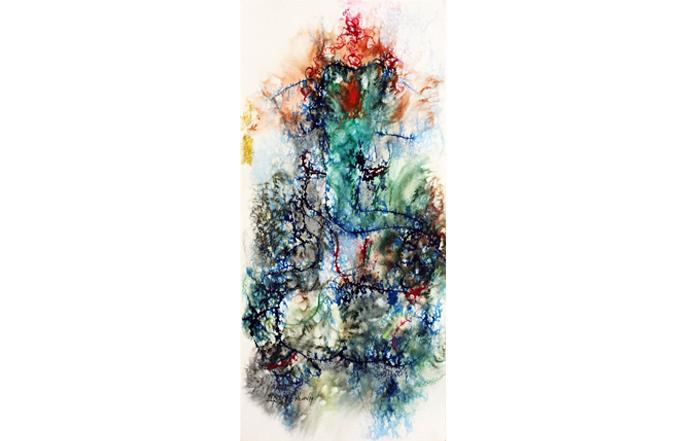 NSM0027 Ganesha - I  Mixed Media on Paper 22 x 10 inches Available