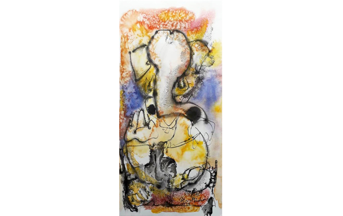 NSM0036 Ganesha - X  Mixed Media on Paper 22 x 10 inches Available