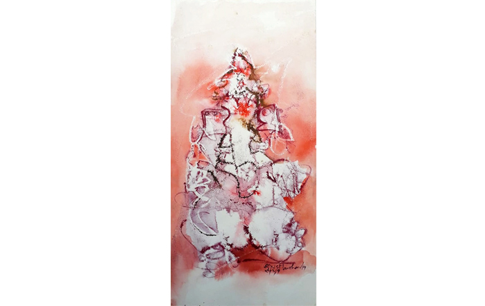 NSM0041 Ganesha - XVI  Mixed Media on Paper 22 x 10 inches Available