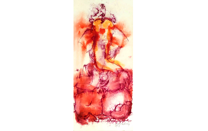 NSM0028 Ganesha - II  Mixed Media on Paper 22 x 10 inches Available