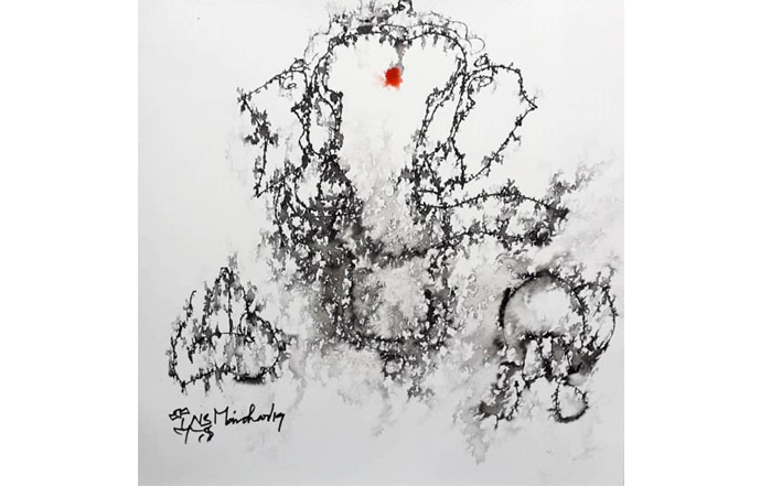 NSM0048 Ganesha - XXIII  Mixed Media on Paper 12 x 12 inches Available