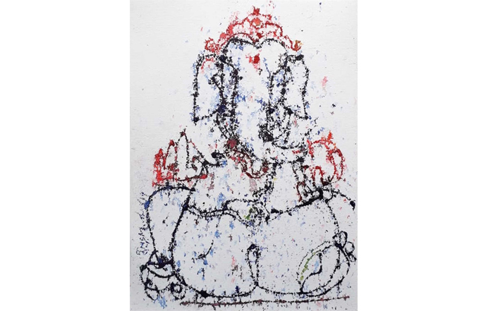 NSM0051 Ganesha - XXVI  Mixed Media on Paper 11 x 15 inches Available