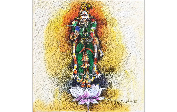 NSM0026 Meenakshi  Mixed Media on Canvas 12 x 12 inches Unavailable (Can be Commissioned)