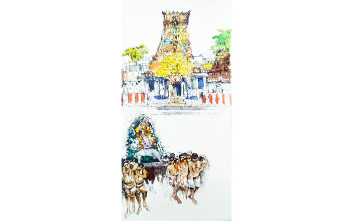 NSM0024 Mylapore Temple  Mixed Media on Canvas 24 x 12 inches Unavailable (Can be commissioned)